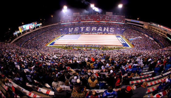 Buffalo Bills fans crowd at New Era Field
