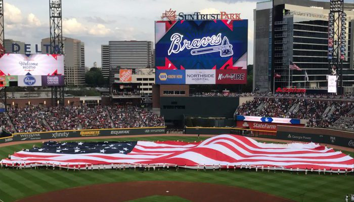 Truist Park baseball US flag