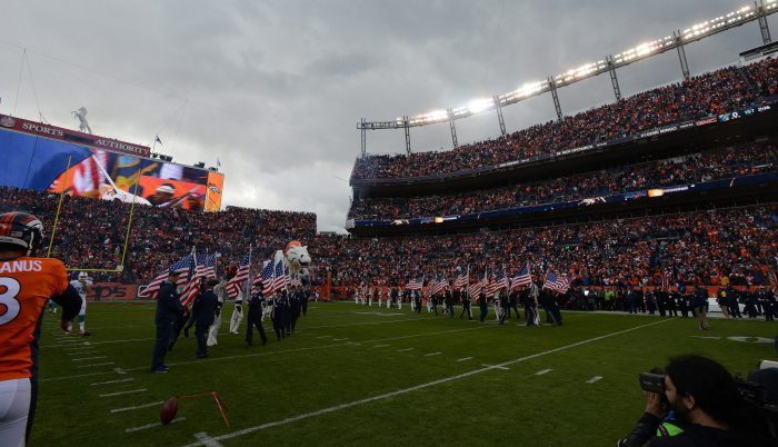 Salute to Service pregame event just before the Denver Broncos vs Miami Dolphins game