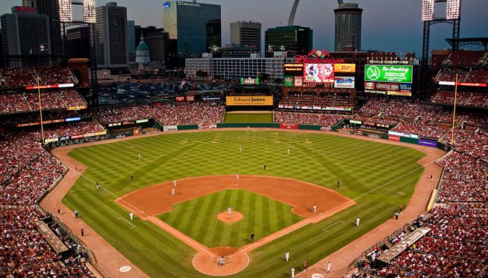 Busch Stadium view of the arch and old courthouse
