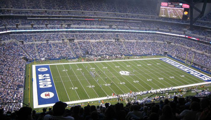 fans watching the Indianapolis Colts game at Lucas Oil Stadium