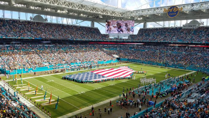 US national flag at Miami Dolphins game in Hard Rock Stadium