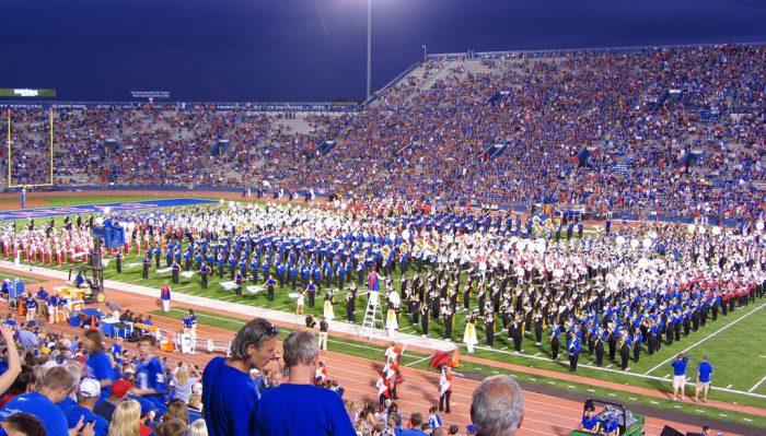 Kansas Jayhawks marching band on football gameday