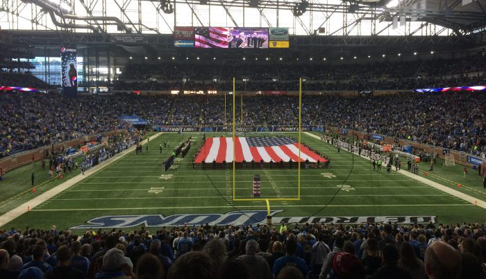 US national flag at Detroit Lions stadium Ford Field