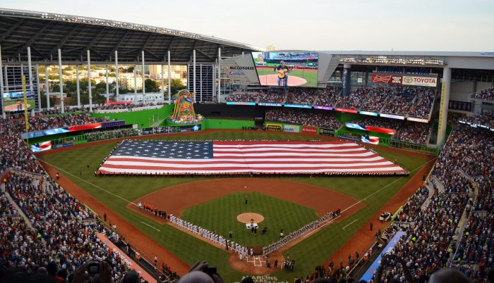 Miami Marlins park opening day US flag