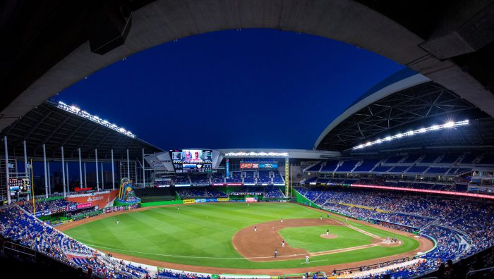 Marlins Park view of roof and sky over the ballpark