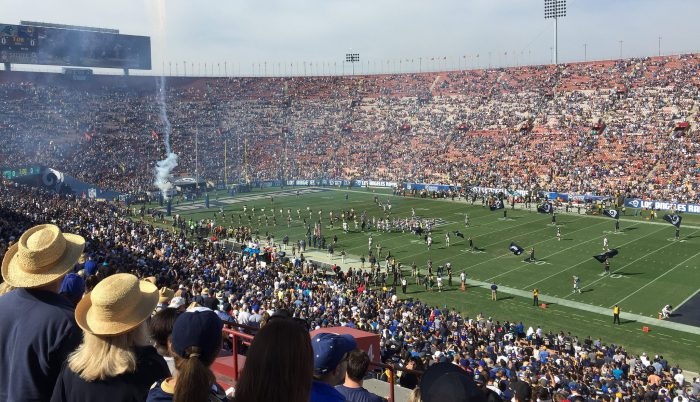 LA Rams Los Angeles players and fans at Memorial Coliseum