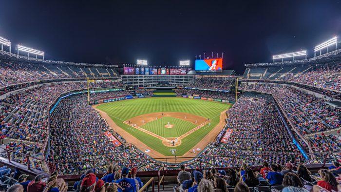 Globe Life Park night baseball game