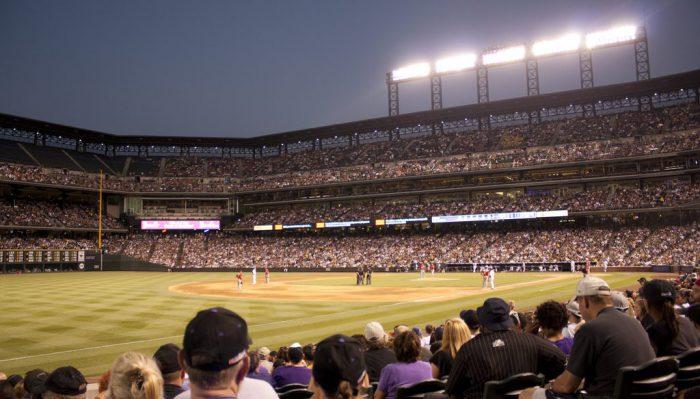Colorado Rockies game at night time