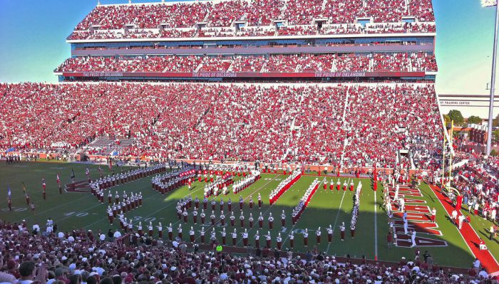 Oklahoma Sooners marching band and fans on football gameday