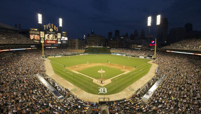 Comerica Park night time lights