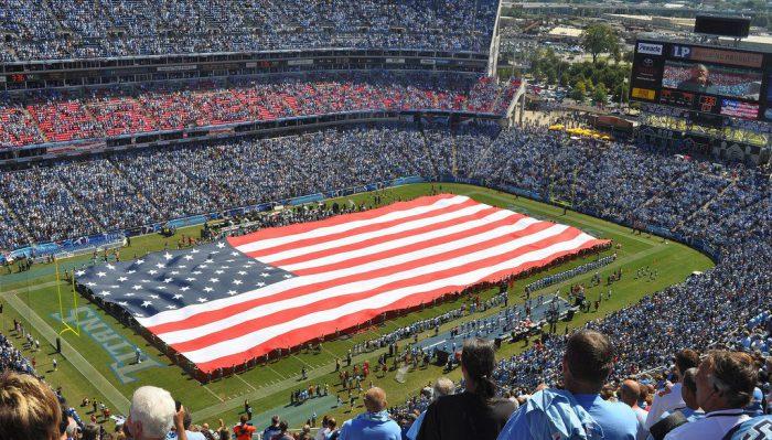 Tennessee Titans flag at Nissan Stadium
