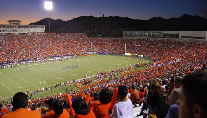 UTEP Miners fans at the football game in Sun Bowl Stadium