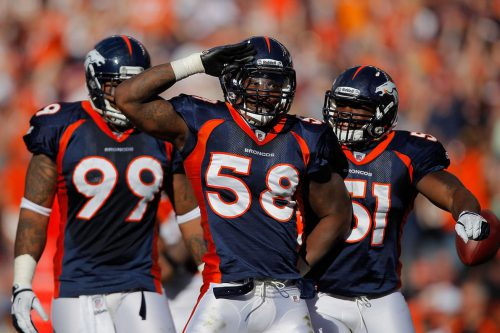 Mile High Salute is given to fans and teammates whenever a Bronco reaches the end zone