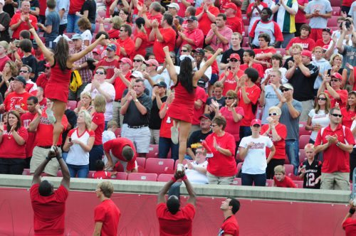Louisville Cardinals cheerleaders in action