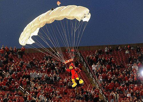 Cardinal Bird parachutes before the game