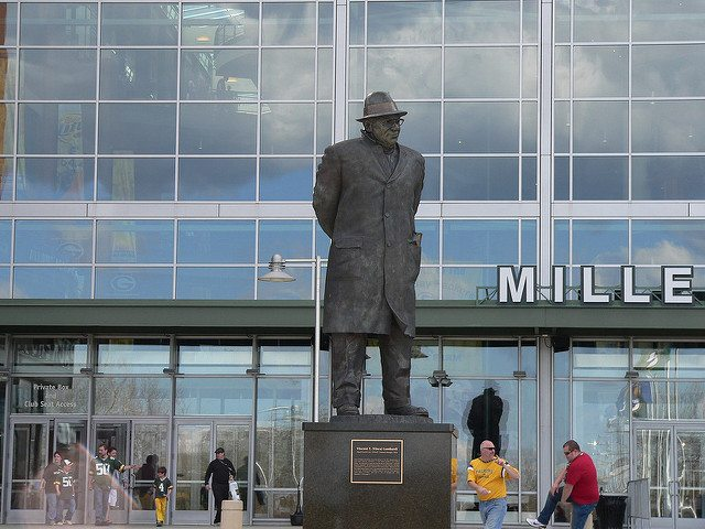 Vince Lombardi Statue outside of the main entrance to Lambeau Field