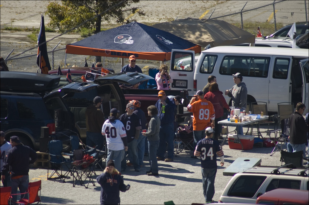 fans Tailgating before the Chicago Bears game