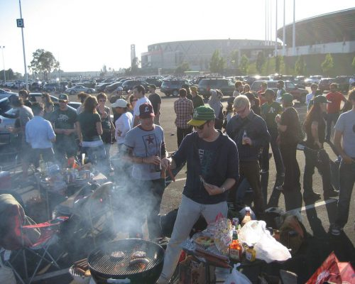 Oakland Athletics tailgaters barbecue party