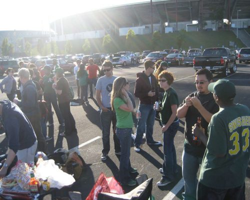 tailgating at parking lot of Oakland Alameda County Coliseum