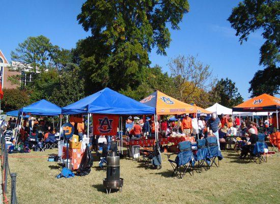 Auburn Tigers fans on tailgate lot