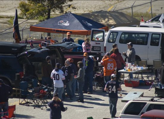 Chicago Bears tailgating at parking lot