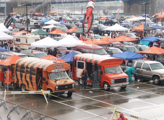 Cincinnati Bengals tailgating at parking lot
