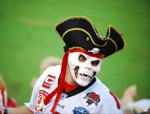 Tampa Bay Buccaneers fan Captain Bones at Raymond James Stadium on gameday