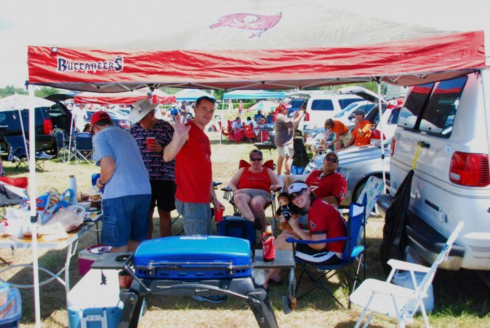 Tampa Bay Buccaneers fans tailgating on gameday