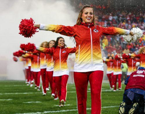 Kansas City Chiefs cheerleaders perform at pregame in Arrowhead Stadium