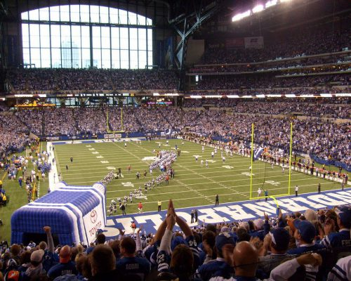 Indianapolis Colts cheerleaders mascot and players entrance at Lucas Oil Stadium