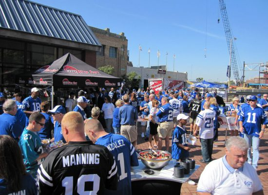 Indianapolis Colts tailgaters party at Lucas Oil Stadium