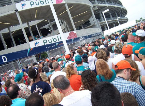 Miami Dolphins fans entering the stadium to see a football game