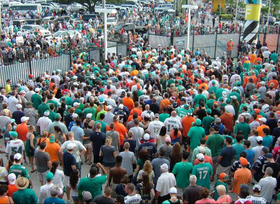 Miami Dolphins fans tailgating outside stadium