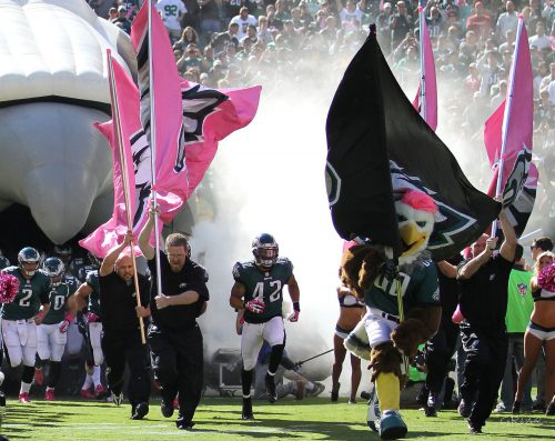 Philadelphia Eagles players entrance mascot Swoop at Lincoln Financial Field