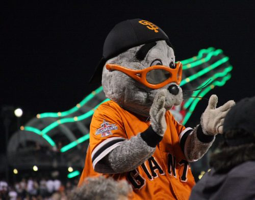 San Francisco Giants mascot Lou Seal at the game