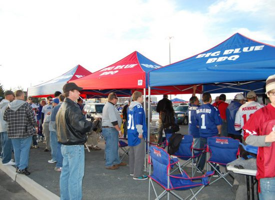Big Blue BBQ New York Giants fans tailgating outside MetLife Stadium