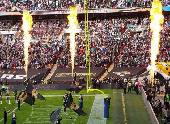 fire display at Jacksonville Jaguars game in TIAA Bank Field