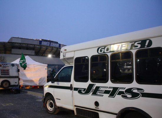 New York Jets tailgate bus outside MetLife Stadium