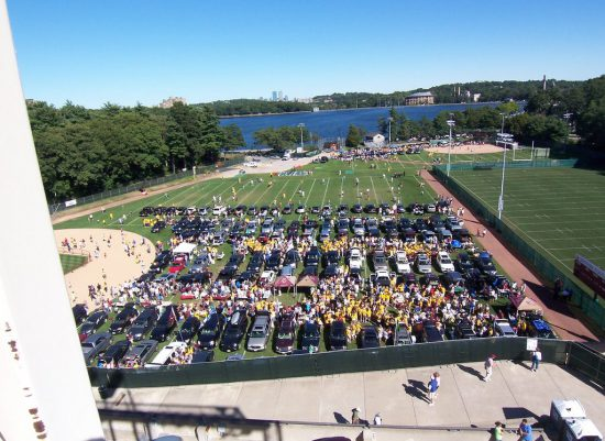 Kent State Golden Flashes football fans tailgating on baseball field