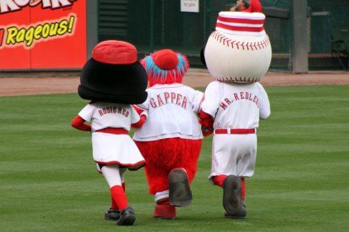 Cincinnati Reds mascots Mr Redlegs Gapper Rosie Red