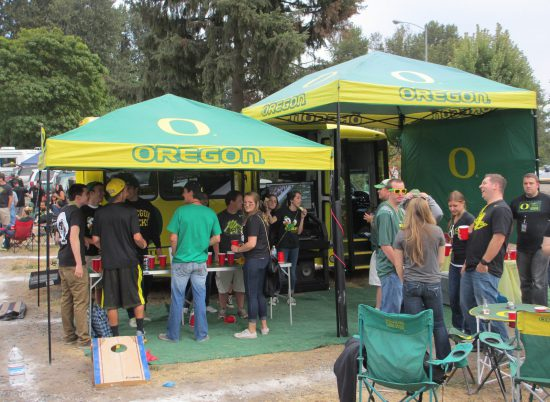 Oregon Ducks tailgate station with HD television and sound system