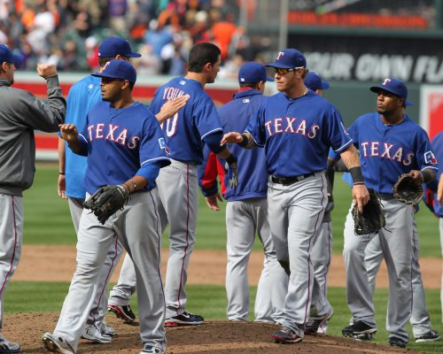 Texas Rangers players on gameday