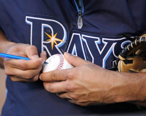 Tampa Bay Rays player baseball autograph