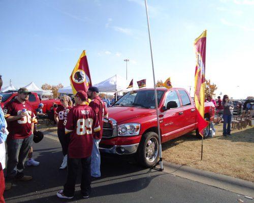 Washington Redskins fans tailgating at parking lot