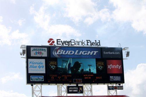 huge scoreboard found at TIAA Bank Field