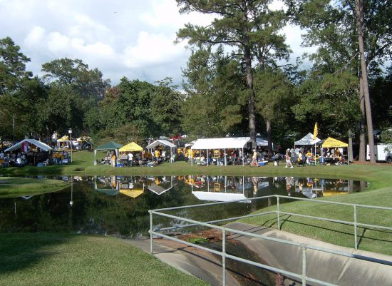 Southern Miss Golden Eagles tailgaters on tailgate lot on football gameday
