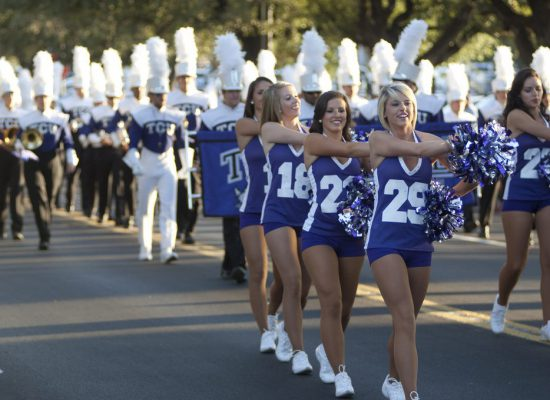 TCU Horned Frogs band cheerleaders parade