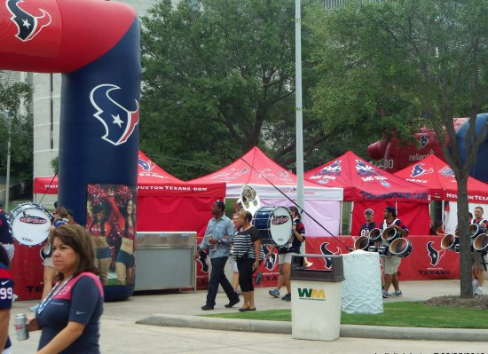 Houston Texans band and fans tailgating