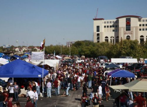 Texas State Bobcats fans tailgating
